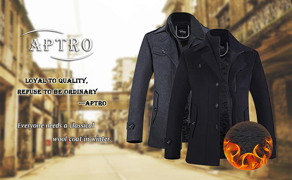 01be717e16e APTRO Men s Winter Slim Fit Wool Coat Single Breasted Wool Trench ...