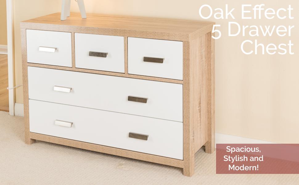 5 Draw Oak Effect Chest Of Drawers W Modern White Wood Design
