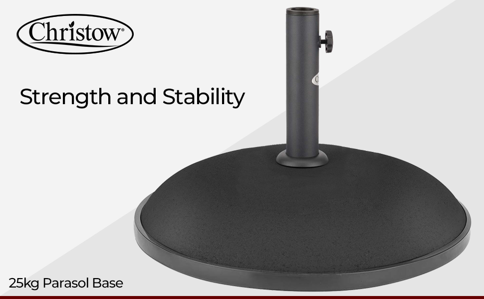 CHRISTOW Garden Parasol Base 25kg Round Patio Umbrella Weight Heavy Duty Compound Concrete Outdoor Sun Shade Canopy Stand Holder