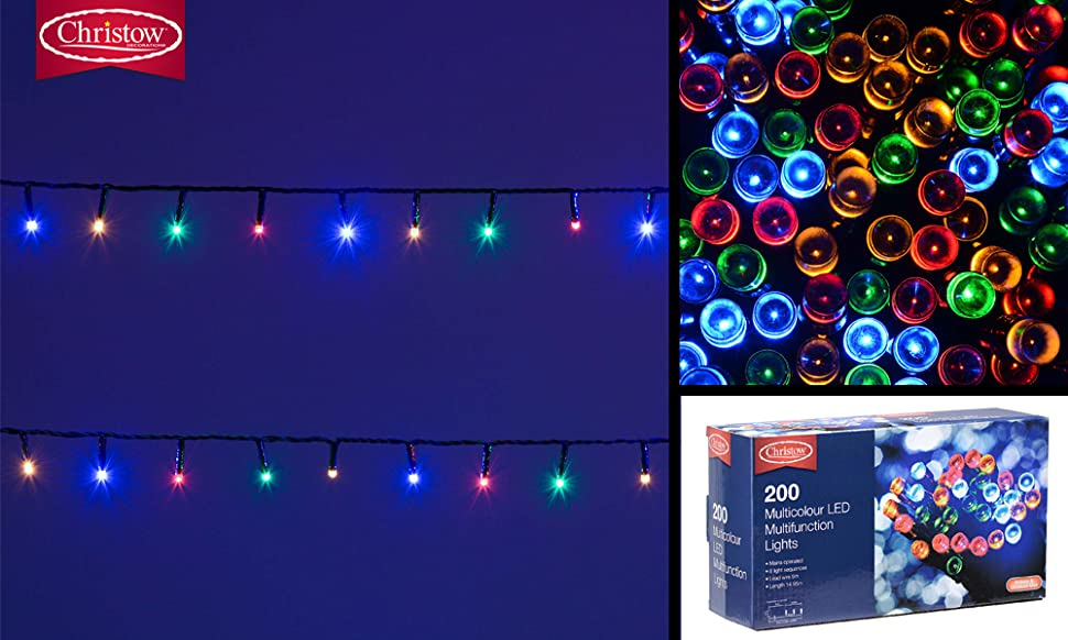 Christow LED Chaser Christmas String Fairy Lights Indoor Outdoor ...