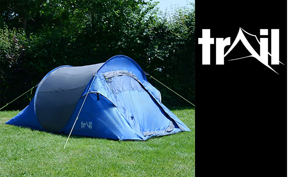 The double-skin design provides ultimate rain protection with a Hydrostatic Head of 2000mm. & 2 Man Double Skin Pop Up Tent Festival Camping With Porch ...
