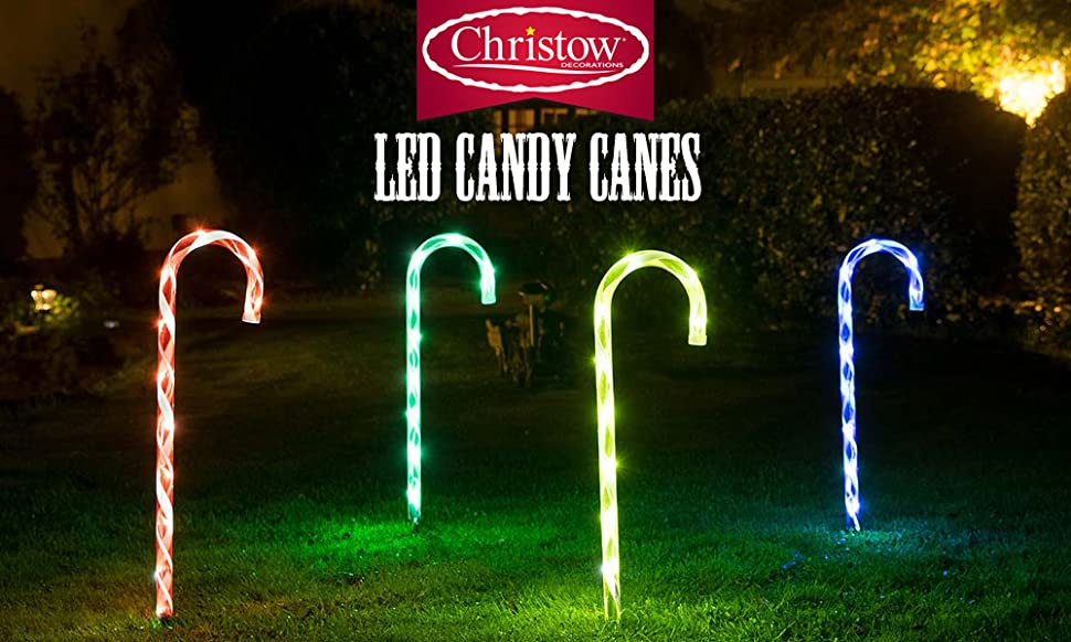 4 x 40 led candy cane christmas lights light up garden path christow set of 4 led candy cane christmas lights aloadofball Images