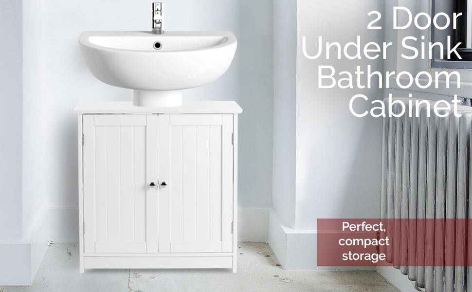 Fantastic Christow Under Sink Bathroom Cabinet White Wooden Basin Unit Freestanding Double Door Storage Cupboard Furniture Home Interior And Landscaping Eliaenasavecom