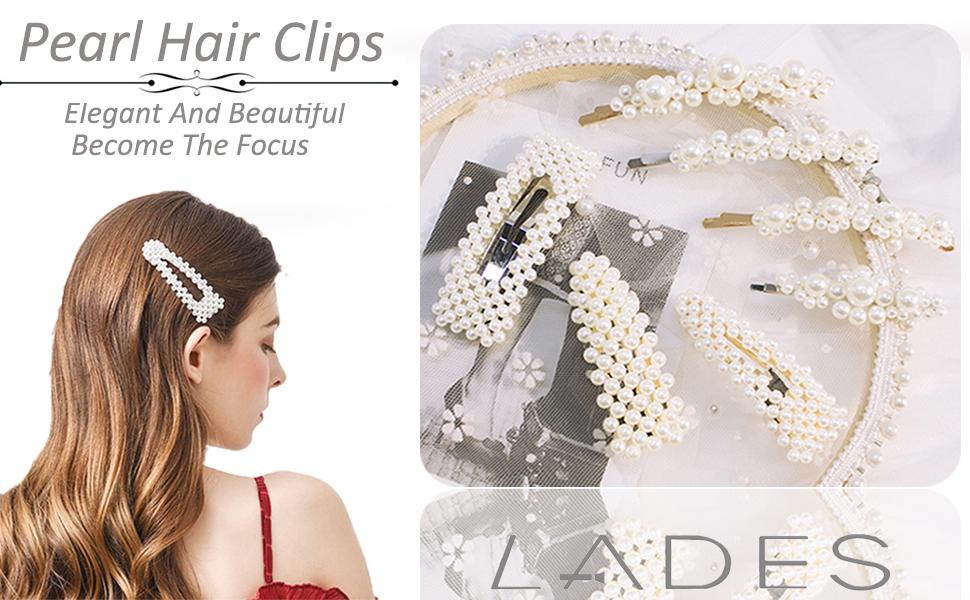 Women Pearl Rhinestone Headdress Hairpin Clip Hair Claw Accessories Fad CA
