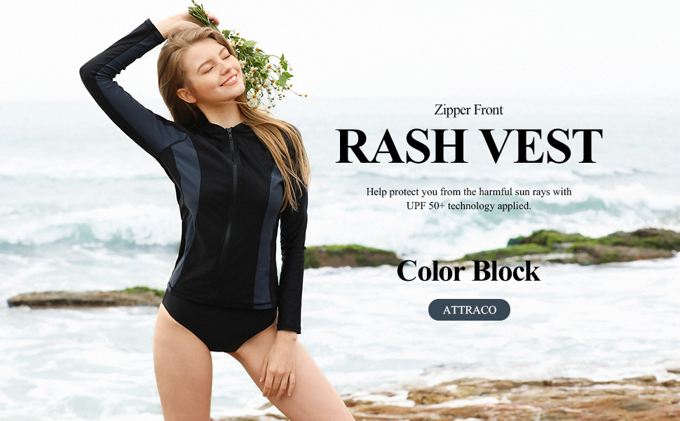 80e80e12516 ATTRACO Women Zip Rashgurad Rash Vest Long Sleeve Swim Shirt Zipper  Swimming Top