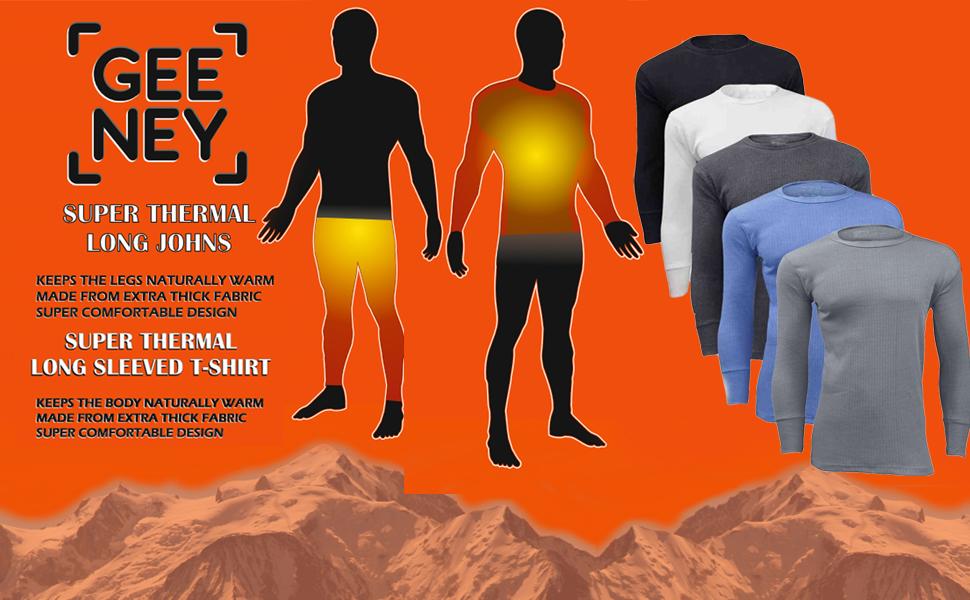2 Mens Thermal Set Long Sleeve Vest and Long Johns