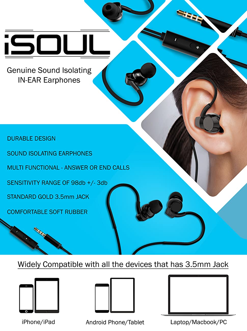 iSOUL Metal Earphones, Noise Isolating in Ear Canal Headphones Earphones  with Pure Sound and Powerful Bass for iPhone, iPad, iPod, Samsung  Smartphones