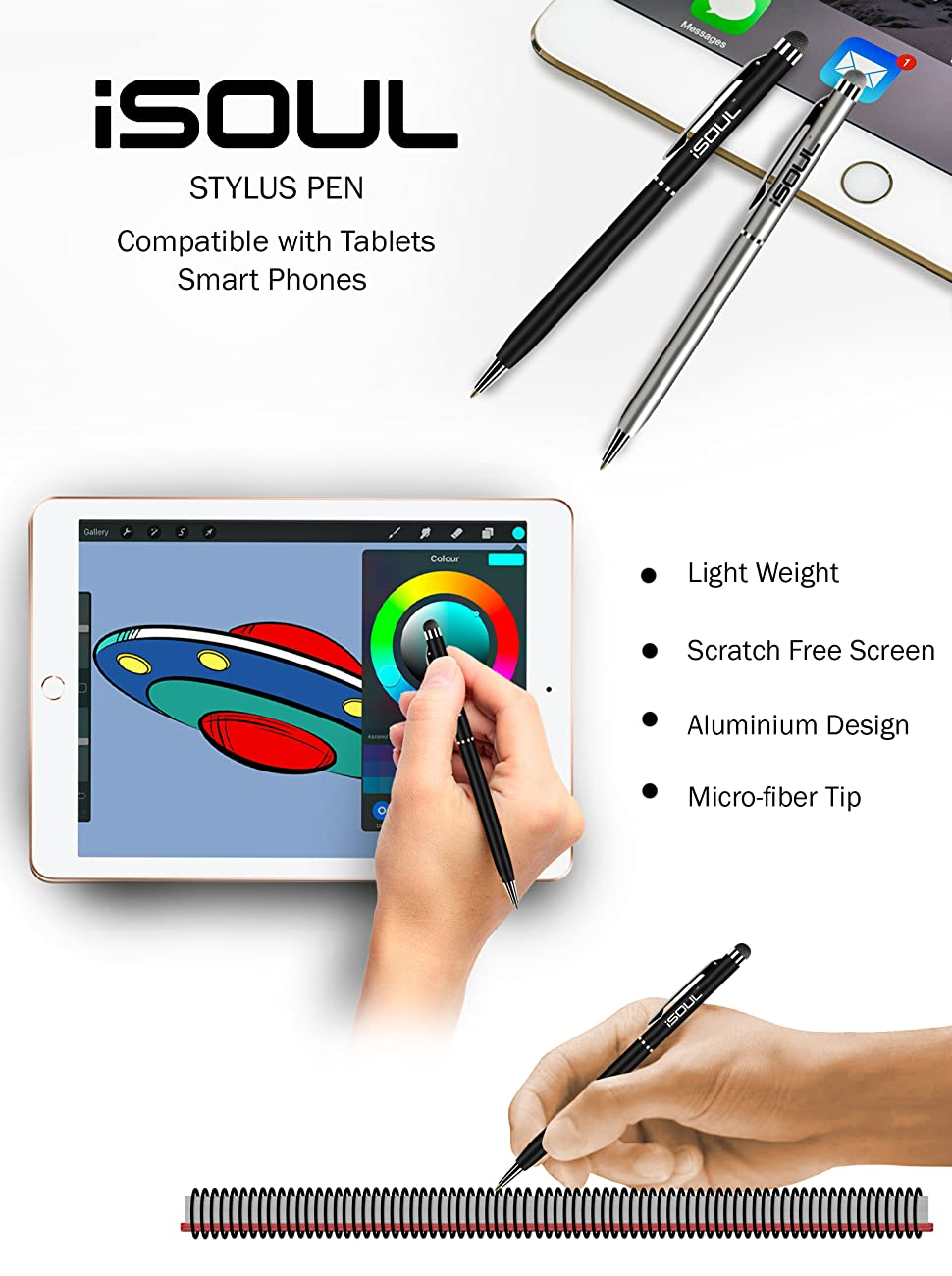 Styli Capacitive Touchscreen Pens For Smartphones 2-in-1 Hybrid Ballpoint Touch Pen for iPhone, iPad