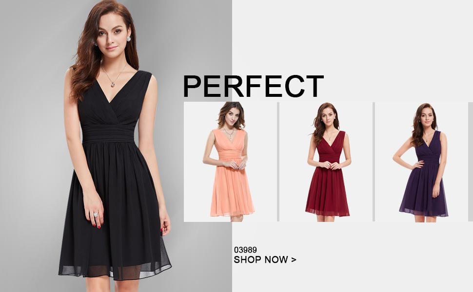 0fccd01c6a Ever Pretty Women s Double V-neck Wrap Short Bridesmaids Party Dress 03989