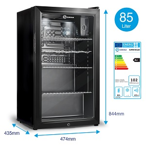 Subcold, Black, 85L, Beer, Fridge, Low, Energy, Wine, Rack, Under-Counter
