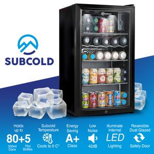 subcold, 85L, LED, temperature, A+, can, filled refrigerator