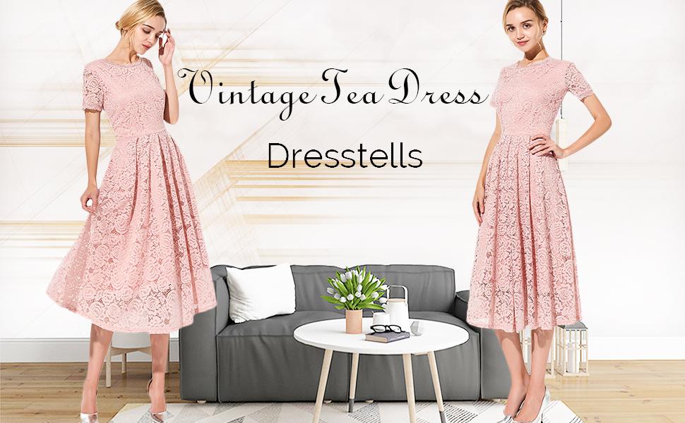 DRESSTELLS® Women's 50s Tea Dress Vintage Bridesmaid Floral Lace Formal Cocktail Vintage Party Dress