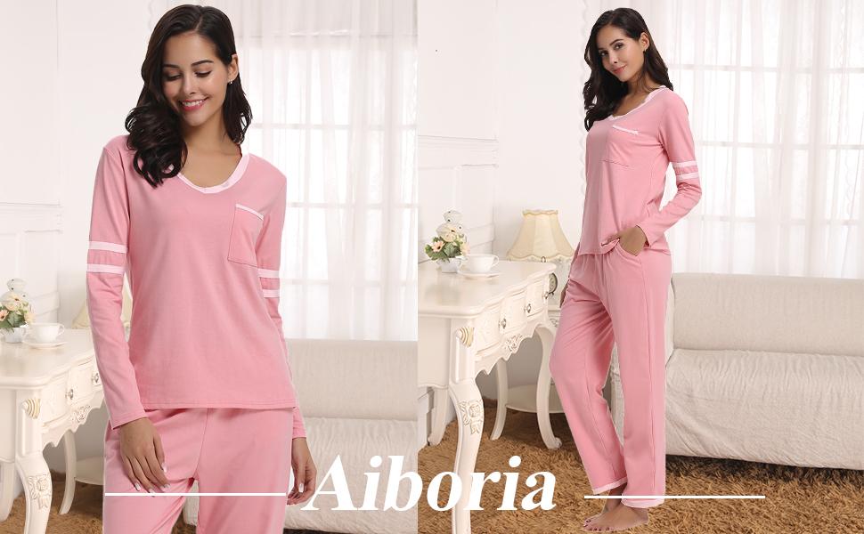 Aiboria Women Pyjama Set Pyjamas PJ Set Long Sleeve Top /& Bottoms for Woman Soft Cotton Sleepwear Loungewear Nightwear