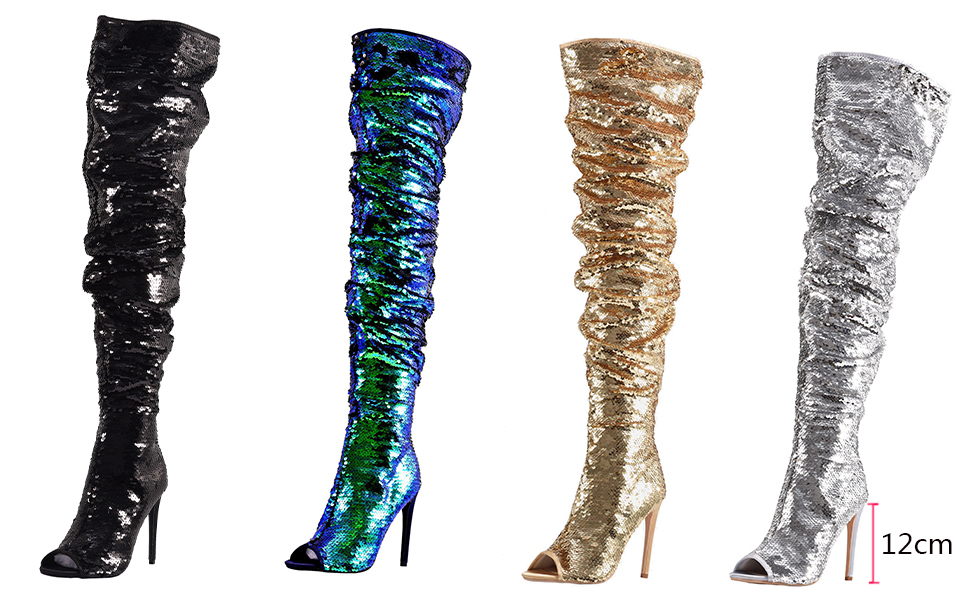 Women s Fashion Peep Toe Sparkle Sequins Thigh High Over Knee Stiletto Heel  Christmas Party Dance Boots e2eb4dcfd712