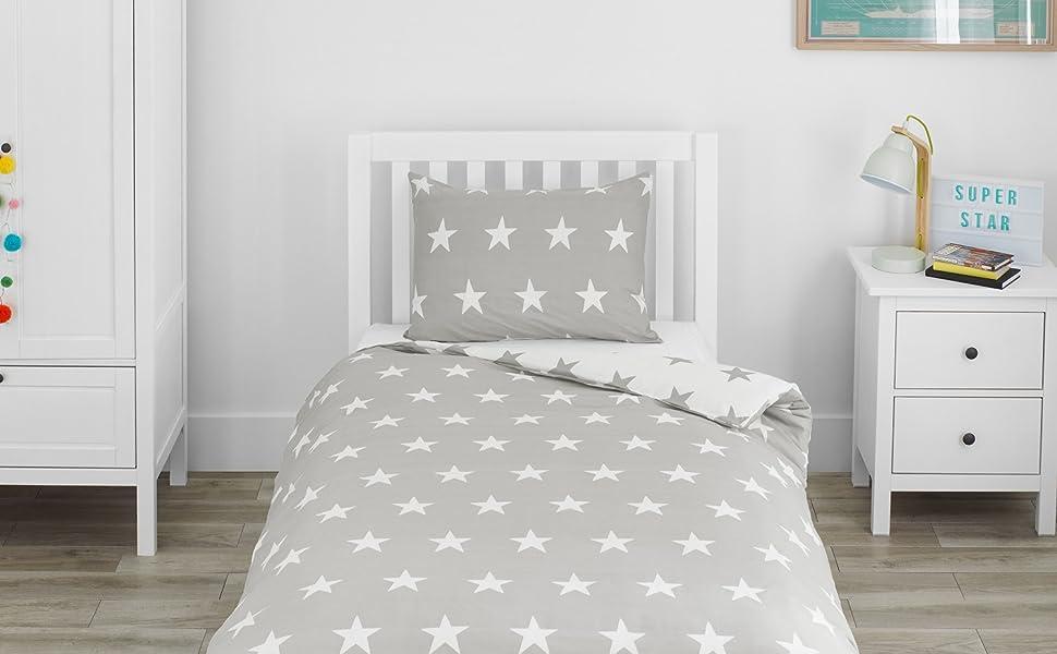 Lovely Grey And White Stars Single Duvet Cover Bedding Set Stars Theme Design
