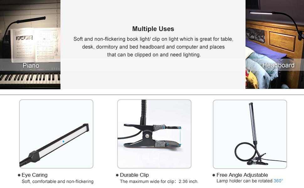 Lepower Led Clip On Light Dimmable Eye Cared Bed Light