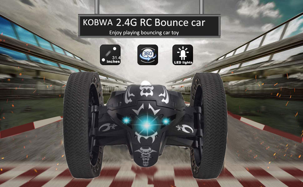 KOBWA Leaping Dragon 2 4G RC Bounce Car with LED Night Light,Wireless  Remote Control Bounce Car Jumping Toy Car Kids Toys Birthday Gift