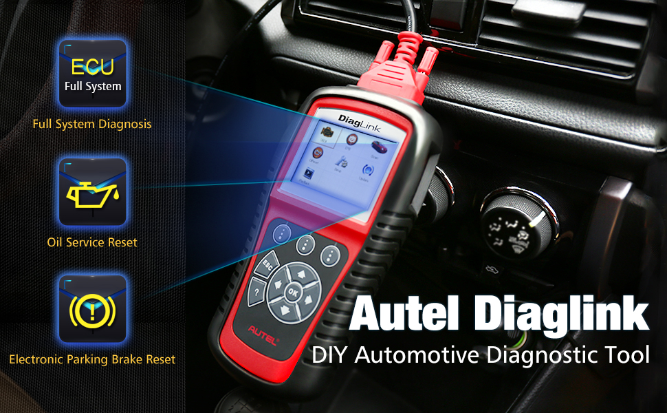 Autel Diaglink OBD2 Car Code Reader All Systems Diagnostic Tool for Engine,  Gearbox, ABS, Airbag, SRS and More, with EPB Oil Service Light Reset (DIY