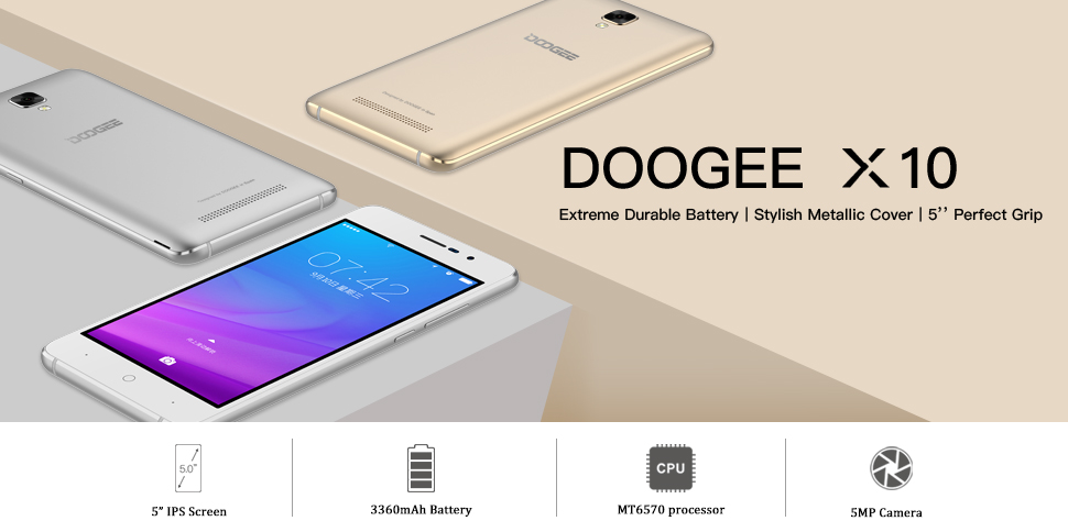 Mobile Phones Unlocked, DOOGEE X10 3G Dual SIM Free Smartphones - Android  6 0 Phone - 5 0 Inch IPS Screen - 3360mAh Large Capacity - 5MP Camera With