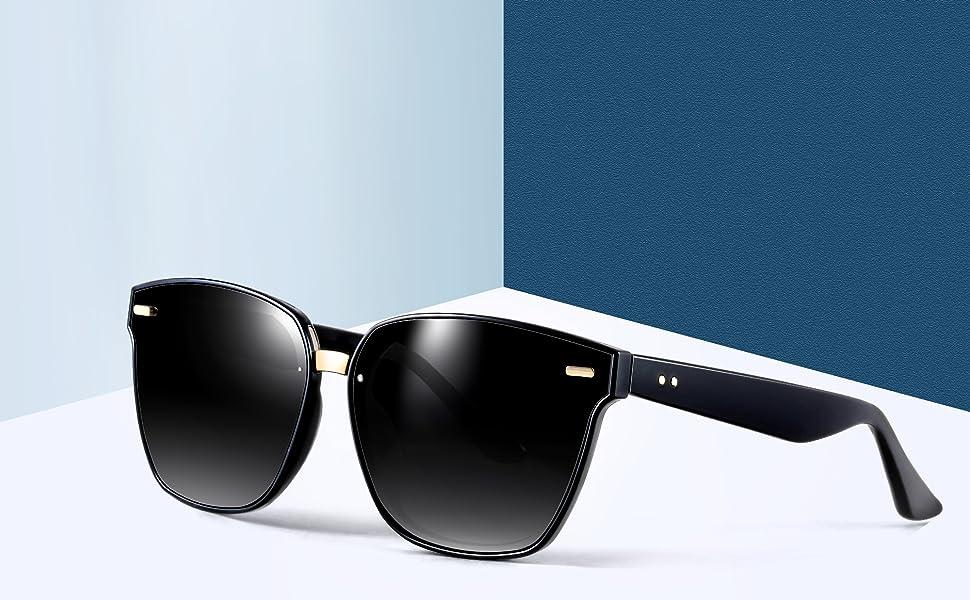 6fae0d67e0 ATTCL Unisex Sunglasses 100% Polarized UV Protection 555-Black ...