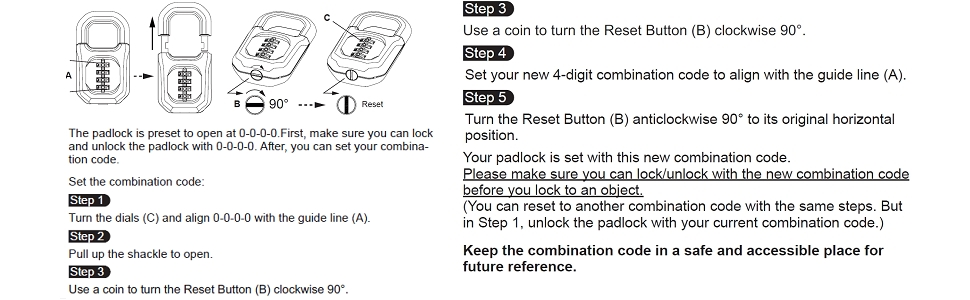 user guide instruction reset combination manual