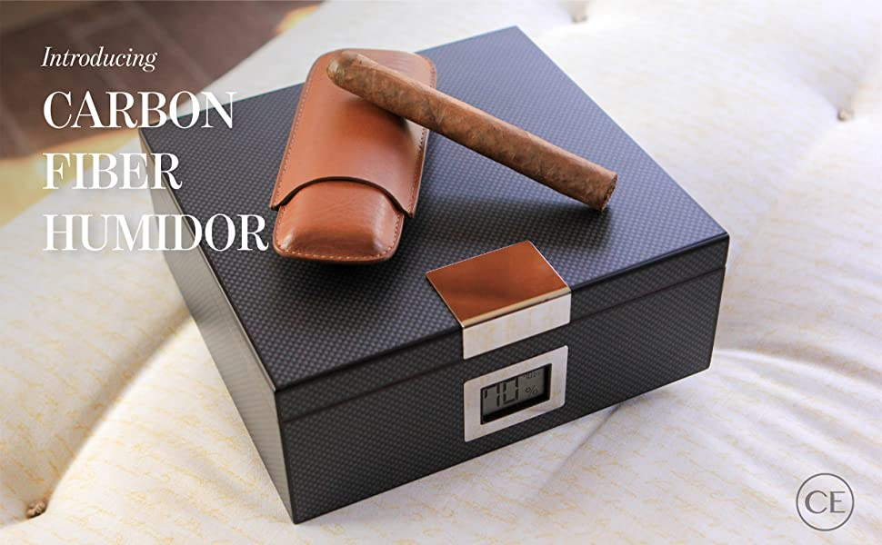 Monsiter Cigar Humidors with Digital Hygrometer and Humidifier High Grade Wooden Cigar Storage for 10 20 Cigars