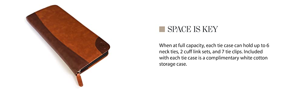 Space is key can hold 7 tie clips and 2 cuff links and 6 neck ties