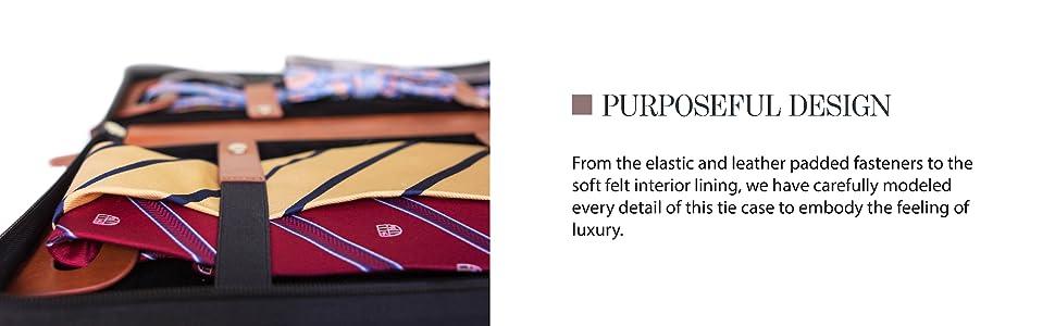 Purposeful design elastic fasteners to hold ties storage travel case for ties cufflinks work travel