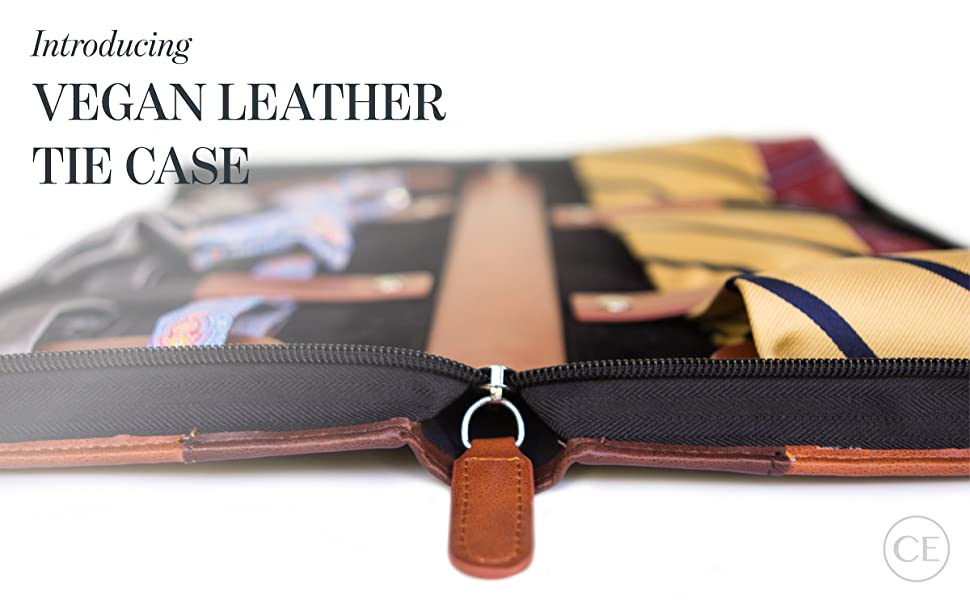 leather vegan tie case that holds up to 6 ties and 2 sets of cufflinks