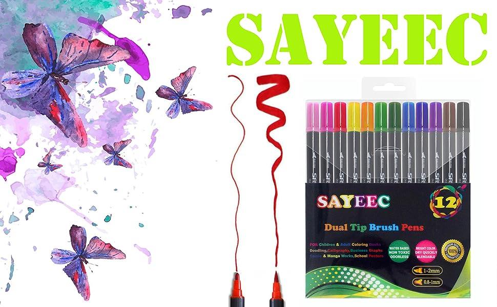 sayeec dual tip brush pens birthday christmas gift for kids