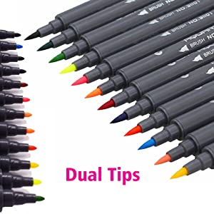 dual tip brush pens for Drawing Sketching Adult Coloring Highlighting and Underlining