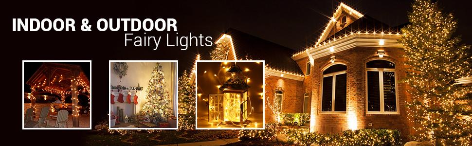 Indoor Christmas Lights.Qedertek String Lights 66ft 200 Led Plug In Fairy Lights Indoor Decorative Lights With 8 Lighting Modes For Wedding Party Home Bedroom Ornaments