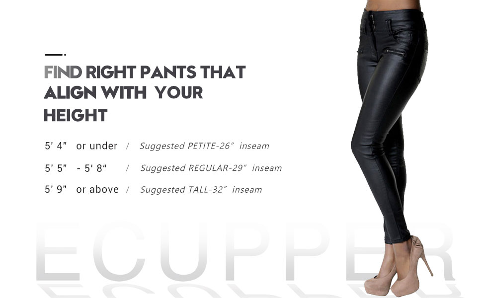dc7bae6bc20cf Ecupper Womens Faux Leather Look Trousers High Waisted Coated Stretch  Skinny Jeans Petite/Regular/Tall, Inside Leg 26 29 32 Inches