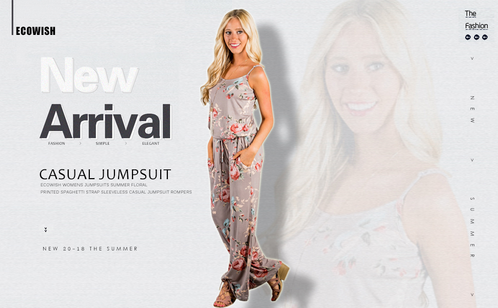 f729f477183c ECOWISH Womens Jumpsuits Summer Floral Printed Spaghetti Strap ...