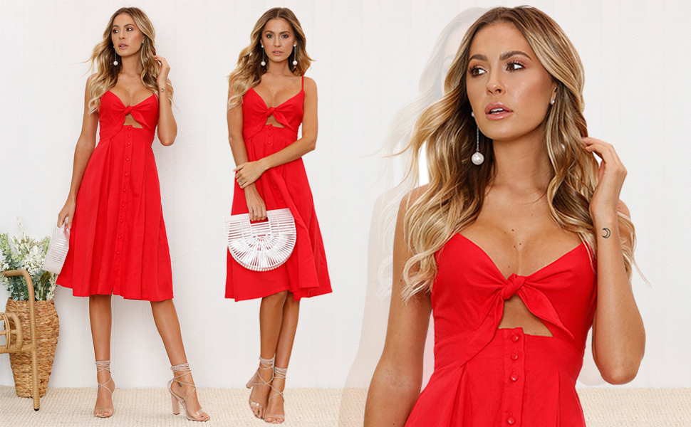 3b32b6c3275 ECOWISH Womens Summer Tie Front V-Neck Spaghetti Strap Button Down A-Line  Backless Swing Midi Dress