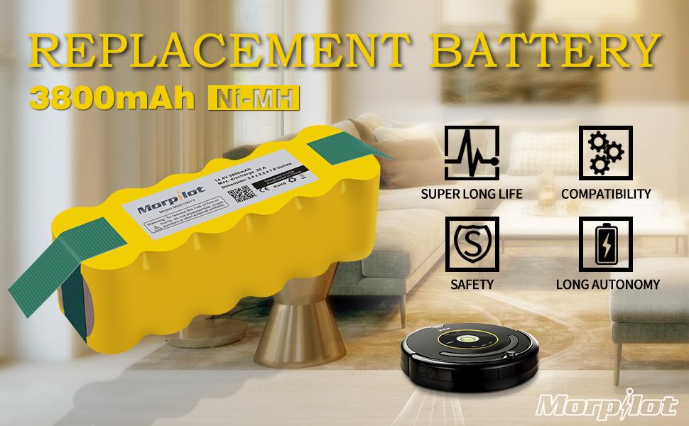 morpilot 3800mAh iRobot/Roomba Battery,Ni-MH Vacuum Battery for Series 500,600,700,800,900,R3 and Scooba 450