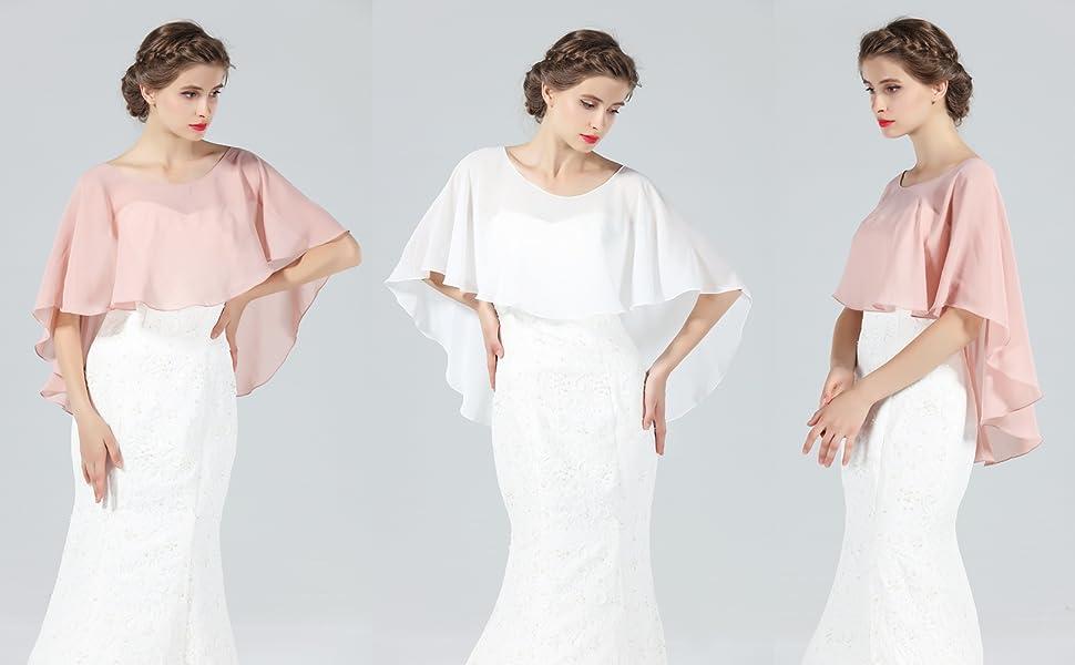 Chiffon cape shawl for wedding