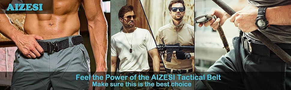 AIZESI Men Tactical Belt, Military Style Nylon Webbing
