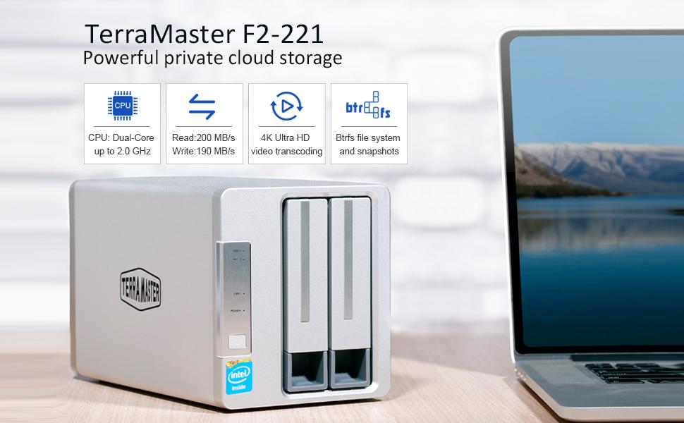 TerraMaster F2-221 NAS 2bay Cloud Storage Intel Dual Core 2 0GHz