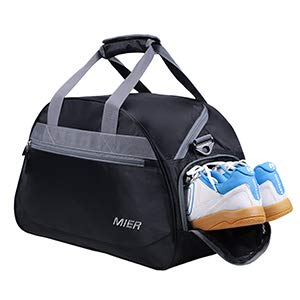 MIER Gym Bag Sports Holdall Weekend Travel Duffel Bag with Shoes Compartment  for Women and Men, 2 Colors  (Black ) 613-2 Xmas Ornaments bfa154b0cd