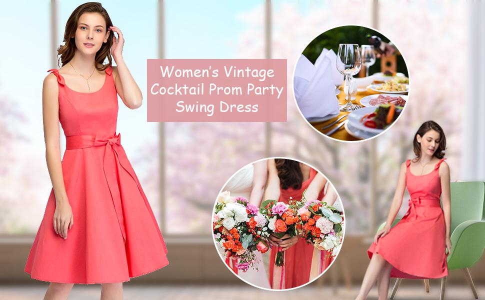 bbonlinedress Women's 1950s Vintage Retro Bowknot Floral Cocktail Swing Party Dress