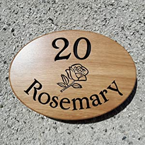 oval house sign no20 a rose and the name rosemary