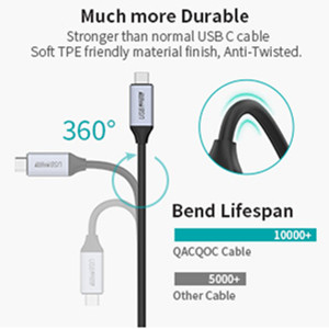 1.2m 10Gbps Data Transfer QacQoc USB C to USB C 3.1 Gen 2 Cable supporting 100W Power Delivery 4K@60Hz Video Output Thunderbolt 3 Compatible for USB Type-C Devices USB C Cable
