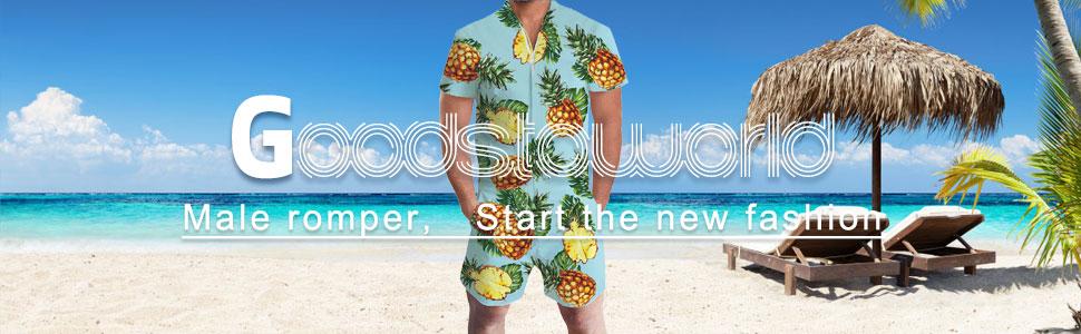 cdec0810edfa Goodstoworld Mens Romper Suits 3D Graphic Printed Zip Up Jumpsuit ...