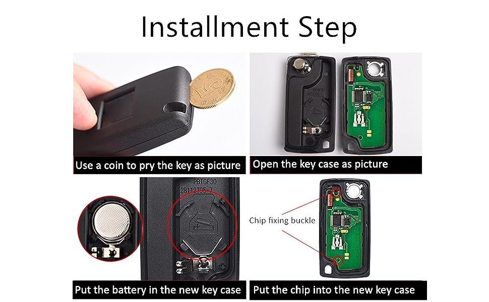 peugeot citroen car fob key case installment step