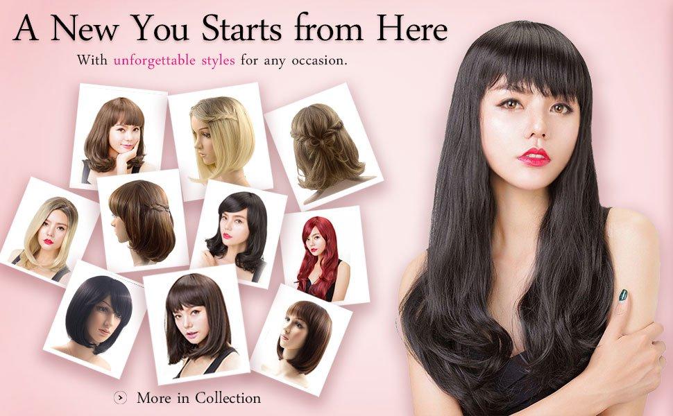 Rabbitgoo® Medium Bob Cosplay Wig for Women Hair Light