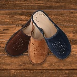 Men's Leather Slippers Brown, Navy Blue, Dark Brown