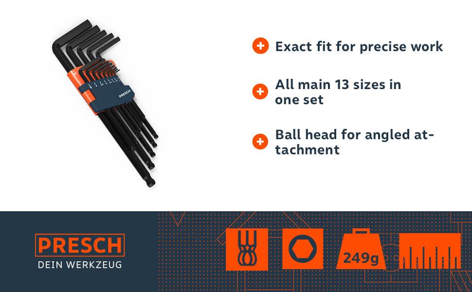 SEALEY Premier CR-V Allan Hex Key ball-end High Quality 10 8 6 and 5.5mm AK7164