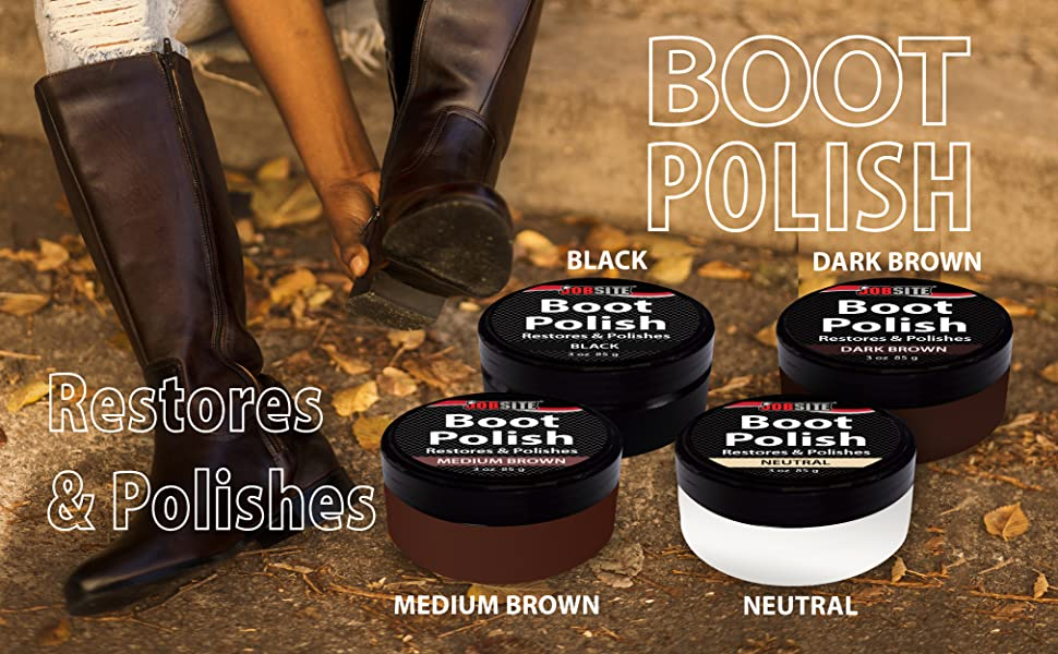 78c960447a9ba JobSite Premium Leather Boot & Shoe Polish Cream - Restores, Conditions &  Polishes - 3 oz (85 g)