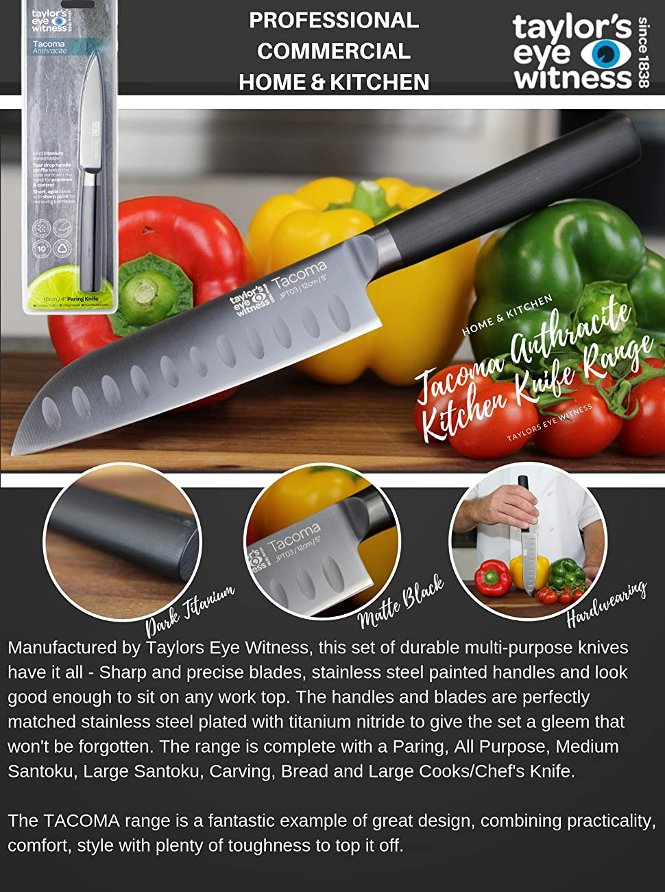 Taylor's Eye Witness Tacoma Bread Knife - Professional 20cm/8 inch Serrated  Cutting Edge  Precision Taper Ground, Titanium Plated Blade  Stainless